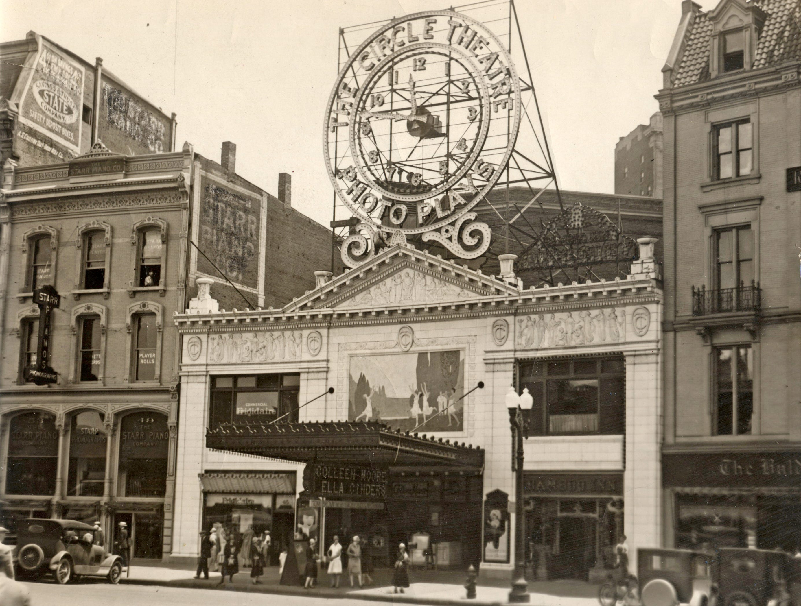 "Circle Theatre on June 27, 1926. On the bill was ""Ella Cinders"" a 1926 American silent comedy film starring Colleen Moore. But get a load of that fabulous clock."