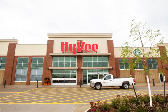 Construction nears completion at a new Hy-Vee location on Monday, Oct. 8, 2018, along Crosspark Road in Coralville, Iowa. The new store is set to open to the public on Oct. 16 at 6 a.m.