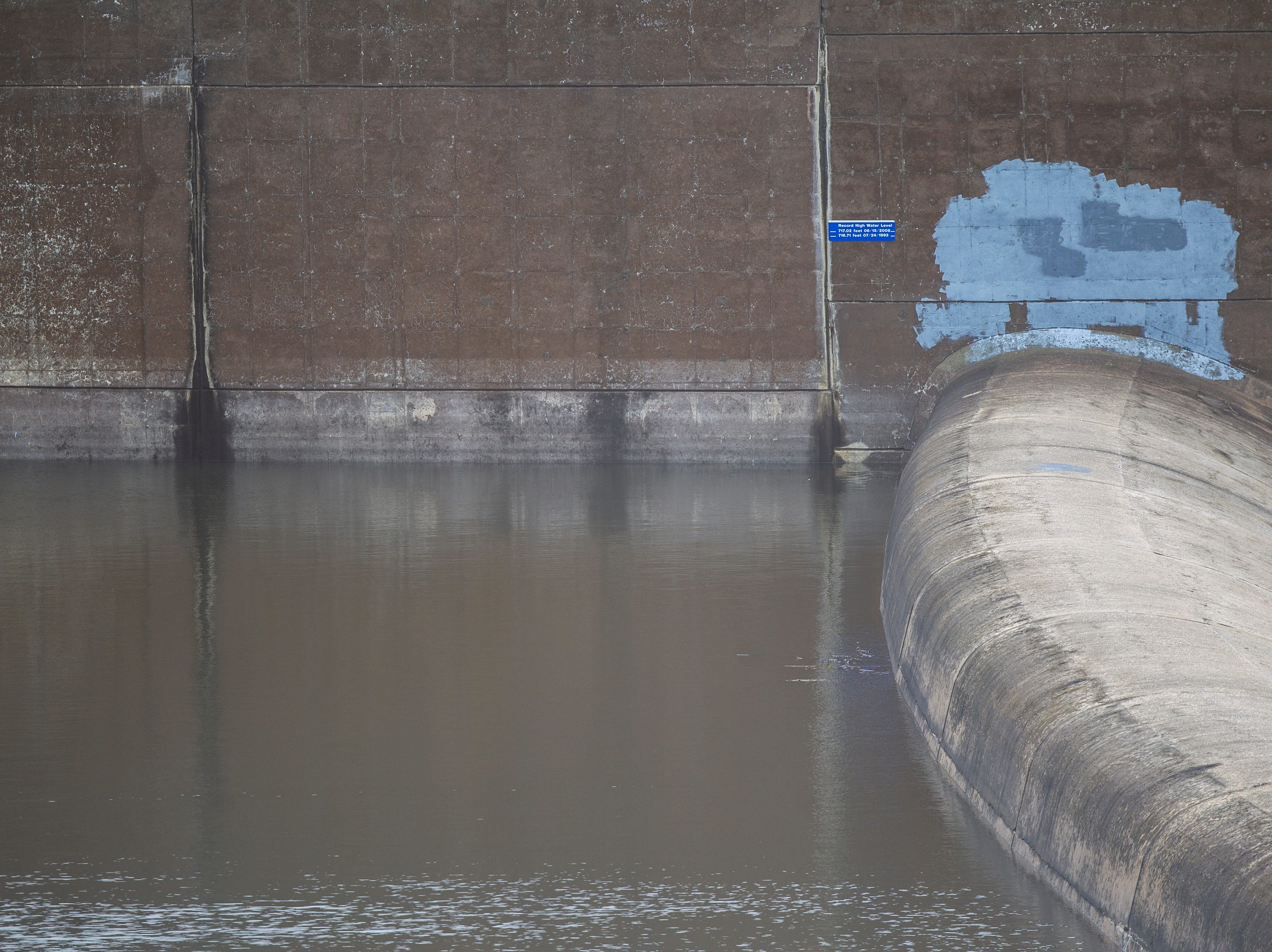 Water nears the emergency spillway on Monday, Oct. 8, 2018, at the Coralville Dam.