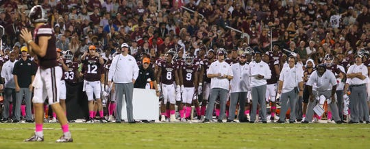 Mississippi State head coach Joe Moorhead calls a play near the end of the first half with MSU in the red zone. Mississippi State and Auburn played in an SEC college football game on Saturday, October 6, 2018, in Starkville. Photo by Keith Warren/Madatory Photo Credit