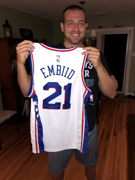 Fox 40 anchor Mike Sands received this signed jersey from one of his sports heroes, Philadelphia 76ers star Joel Embiid.
