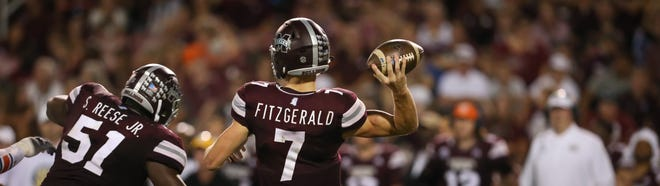 Mississippi State senior quarterback Nick Fitzgerald attempts a pass against No. 9 Auburn on Saturday, October 6, 2018, in Starkville. Photo by Keith Warren/Madatory Photo Credit