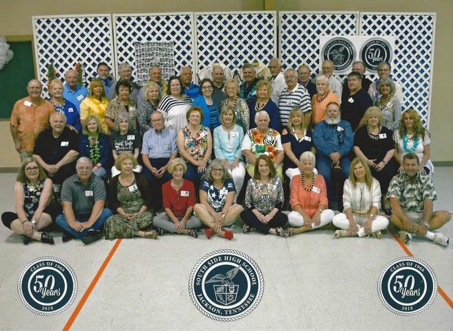 South Side High School's Class of 1968 enjoyed their 50-year reunion dinner and social time on Aug.18, 2018, at South Jackson Community Center. First row: Kay Crick, Carlos Ivy, Charlotte Bell Johnson, Pat Norris Tucholski, Freda Dulin Robinson, Kathy Haney Williams, Hope Collins Webb, Peggy Collins Bishop, George Jones. Second row: Bill Robinson, Sandra Anthony Matthews, Judy Dudley Horne, Ronnie Maness, Doris Williams Radcliffe, Shelby Evans Davis, Valda Stephenson Todd, Linda Shanklin Foulks, James Tyson, Margaret Ross Allen, Alice Collins McCage. Third row: Eldon Dyer, Wanda Young Wright, Marie Poe Guess, Sadie Lemons Cox, Paula Smith Latham, Phyllis Hale Dancer, Sandra Crouch, Sandra Coatney Holley, Ruth Raines Richardson, Richard Murdaugh, Tommy Azbill, Larry Hearn, Judy Davis.  Fourth row: Chris Collins, Jack Maness, Wilmot Bond, Ron Darby, Kenneth Hardee, Dennis Gowan, Jimmy Gobelet, Jerry Hayes, Robert Edwards, Bob Rice, Johnnie Seavers, Richard Taylor.