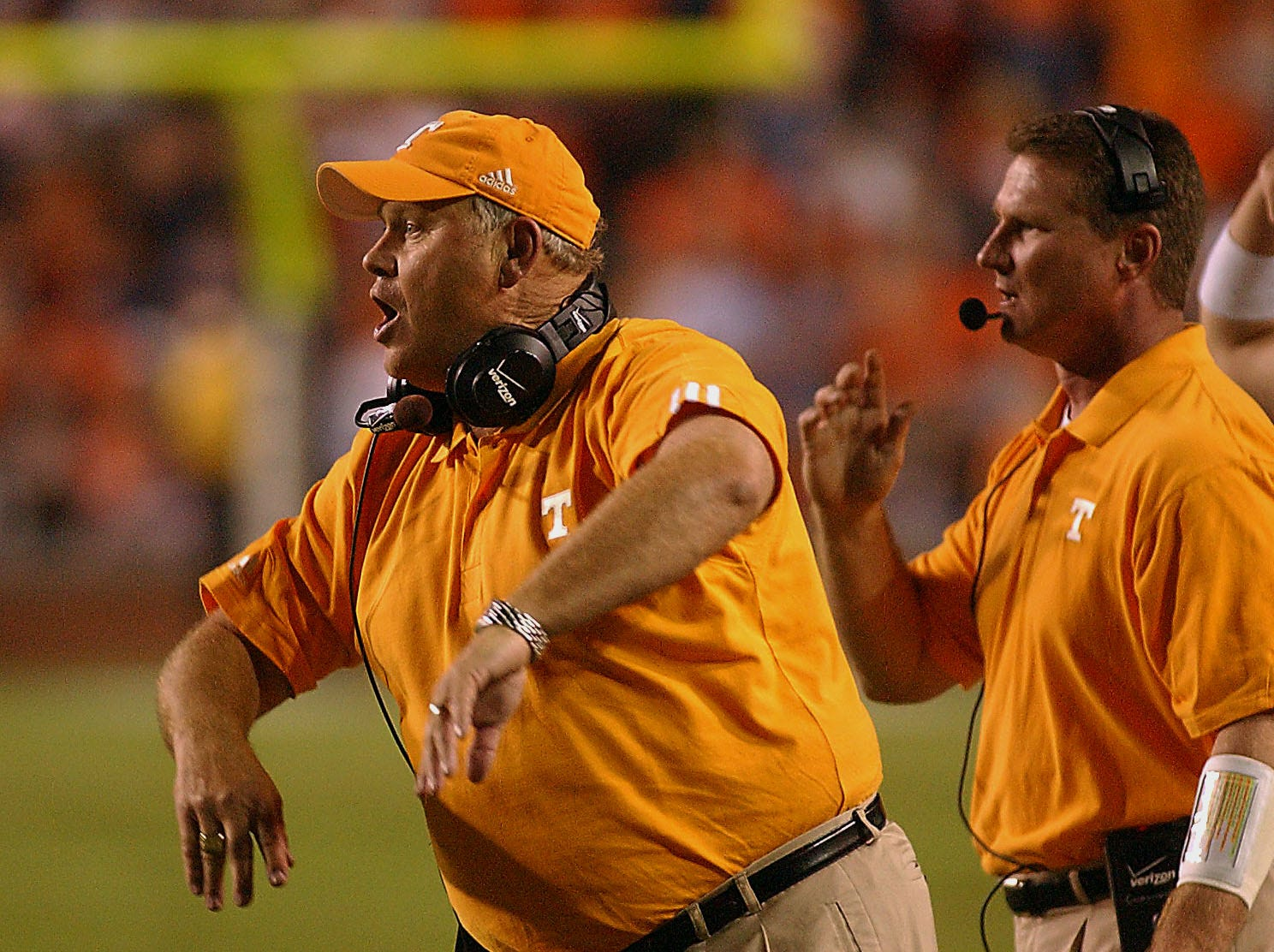 Tennessee head coach Phillip Fulmer reacts to a play at the end of the first half Saturday night in Auburn, Alabama. 10/4/2003