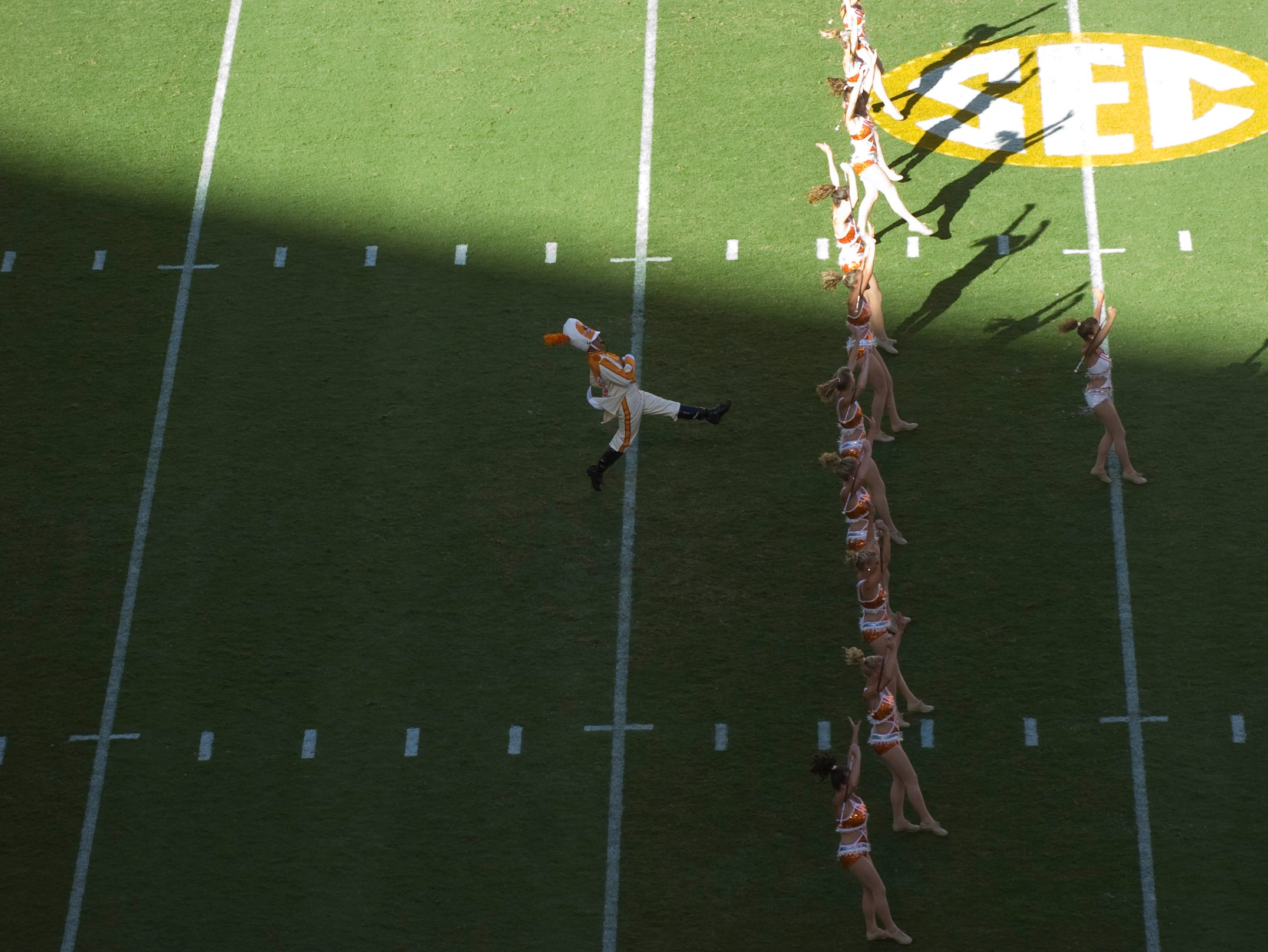 Tennessee majorette's and the drum major lead the band on to the field in the home opener against UT Martin at Neyland Stadium on Saturday, Sept. 4, 2010. UT won the game 50-0.