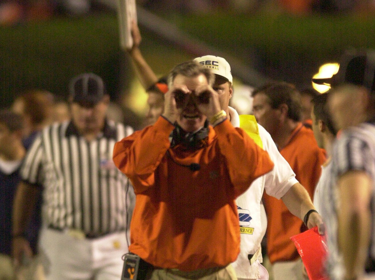 Auburn coach Tommy Tuberville questions the vision fo the refreee after a pass-interference call went against Auburn on Saturday at Auburn.
