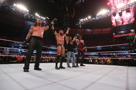 Knox County Mayor Glenn Jacobs as Kane and other WWE stars at the WWE Super Show-Down at the Melbourne Cricket Ground in Australia on Saturday, Oct. 6, 2018.