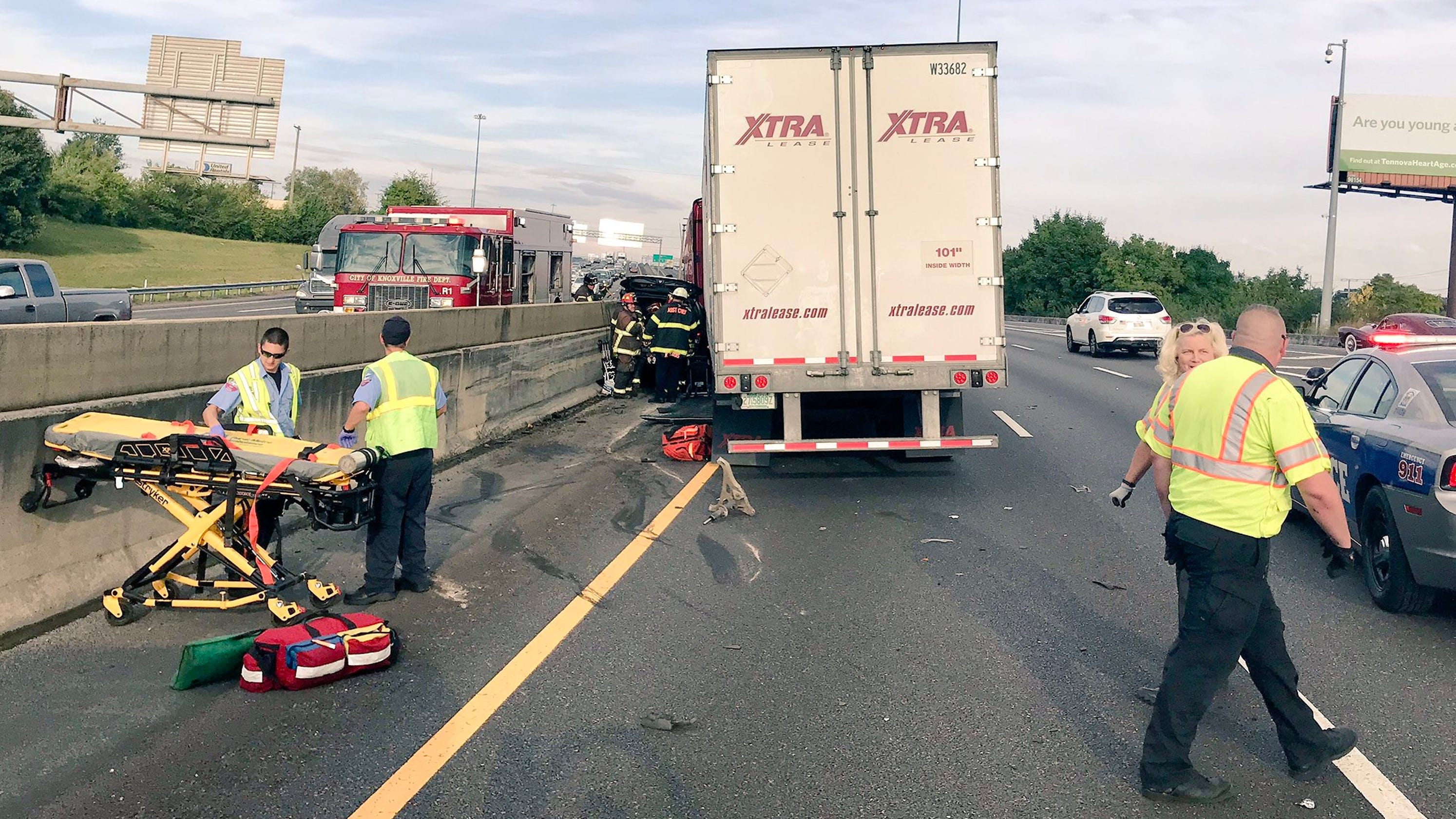 Tractor-trailer crash snarls traffic on I-40 East in Knoxville