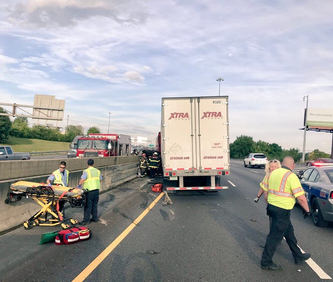 Multiple people were trapped after a wreck on Interstate 40 East near downtown Knoxville on Monday, Sept. 8, 2018.