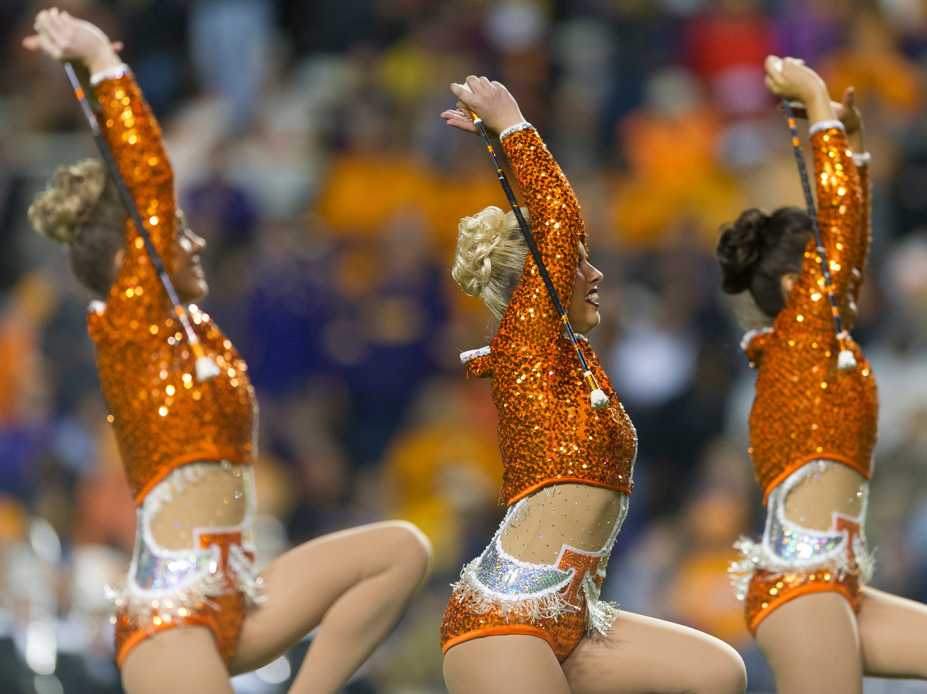 Majorettes perform during a game between Tennessee and LSU at Neyland Stadium in Knoxville, Tennessee, on Saturday, Nov. 18, 2017.