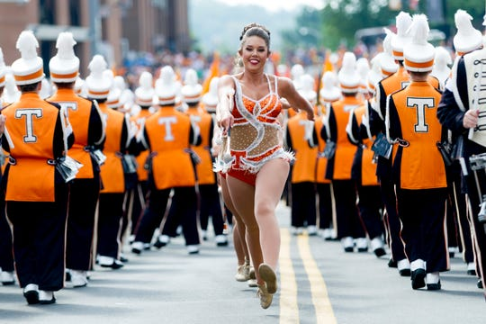 The majorettes perform during the Tennessee Volunteers vs. UMass Minutemen game at Neyland Stadium in Knoxville, Tennessee on Saturday, September 23, 2017.