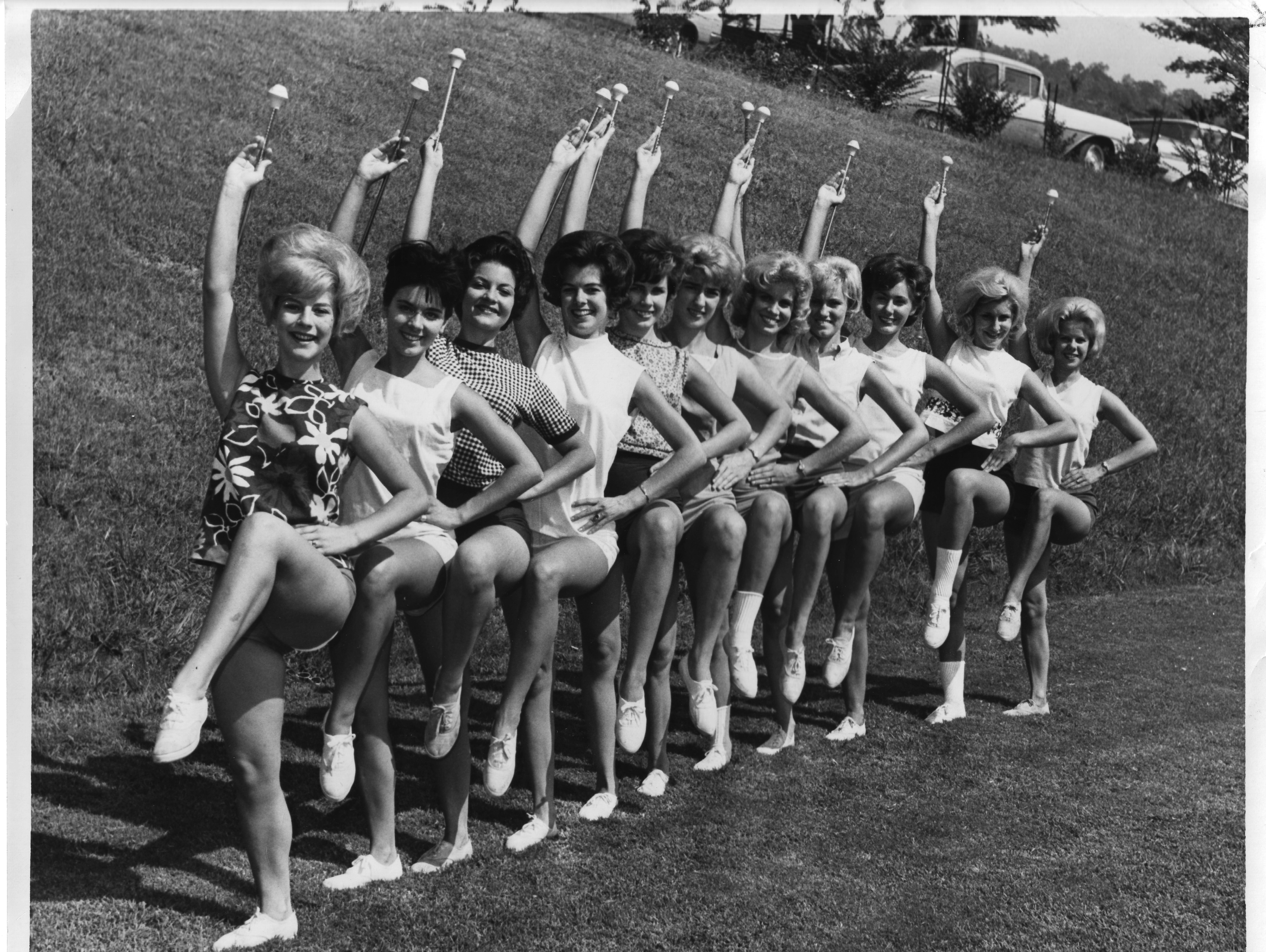 University of Tennessee majorettes, from left, DeAnna Smith, Marcia Austin, Betty Sue Little, Bette Carlson, Patti Stuart, Brenda Flowers, Judy Barton, Melinda Hewgley, Valerie Foster, Brenda Murrell, Mary Nicholon.