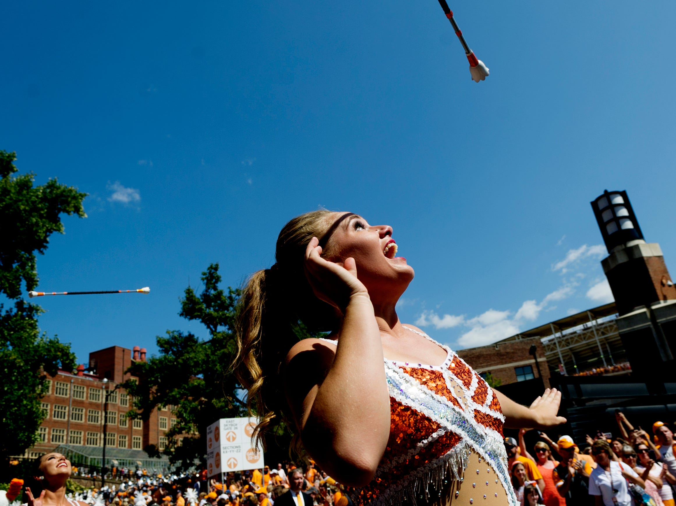 Majorettes perform with the band during the Tennessee Volunteers vs Indiana State Sycamores game at Neyland Stadium in Knoxville, Tennessee on Saturday, September 9, 2017.