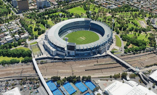 "Google Earth image of the Melbourne Cricket Ground in Melbourne, Australia, where Knox County Mayor Glenn Jacobs wrestled in his ""Kane"" persona on Saturday, Oct, 6, 2018. Some 70,000 were at the WWE Super Show-Down. The stadium is the 10th-largest stadium in the world, seating over 100,000."