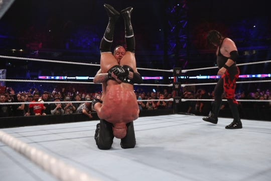 'Kane' in the ring during the WWE Super Show-Down at the Melbourne Cricket Ground in Australia on Saturday, Oct. 6, 2018.