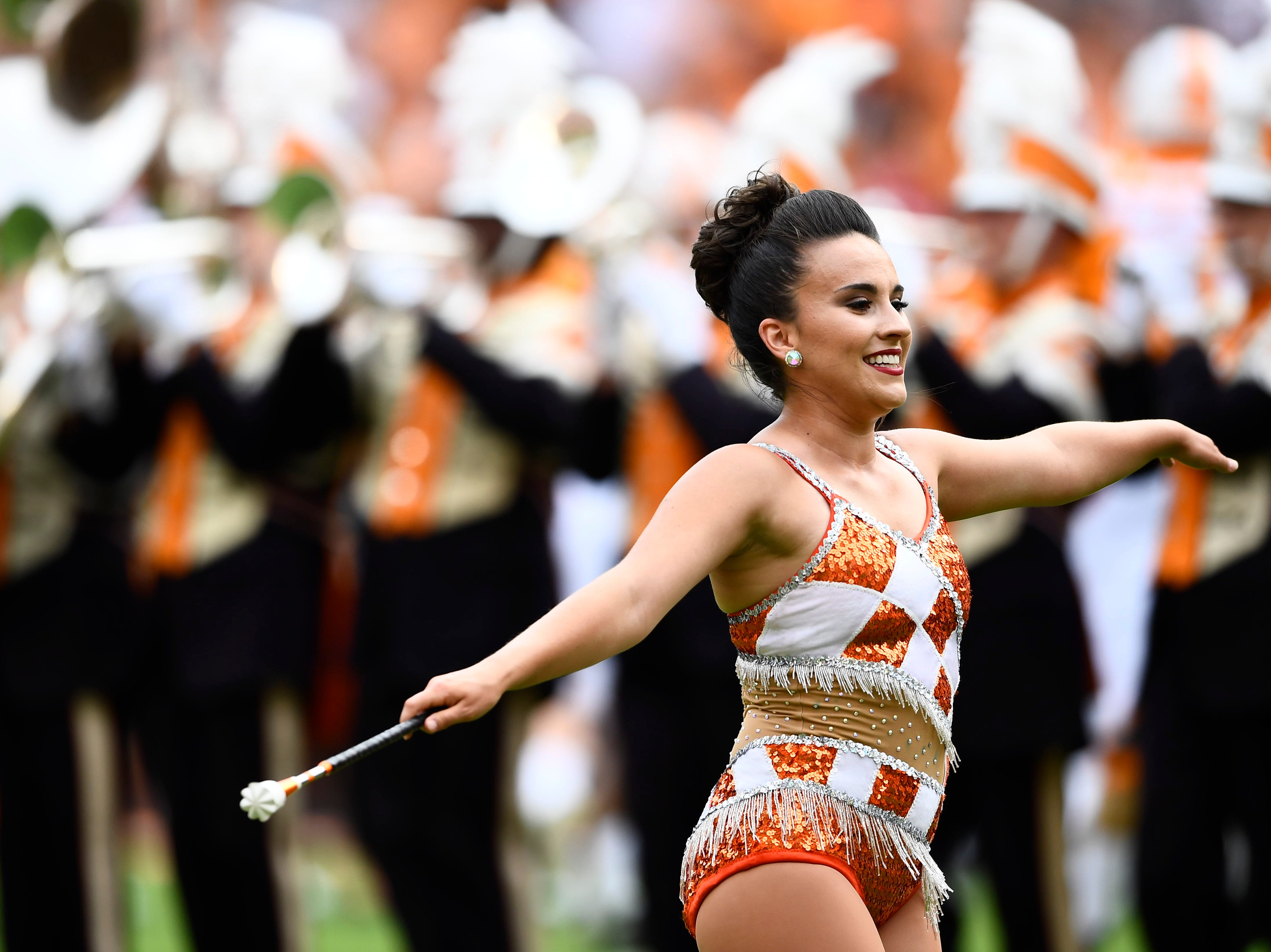 A Tennessee Majorette performs on the field during a game between Tennessee and ETSU at Neyland Stadium in Knoxville, Tennessee on Saturday, September 8, 2018.