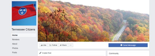 """A screenshot of the """"Tennessee Citizens"""" Facebook page."""
