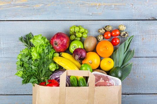 Healthy Food Grocery Background Basket Bag Vegetables Fish Balanced Purchase
