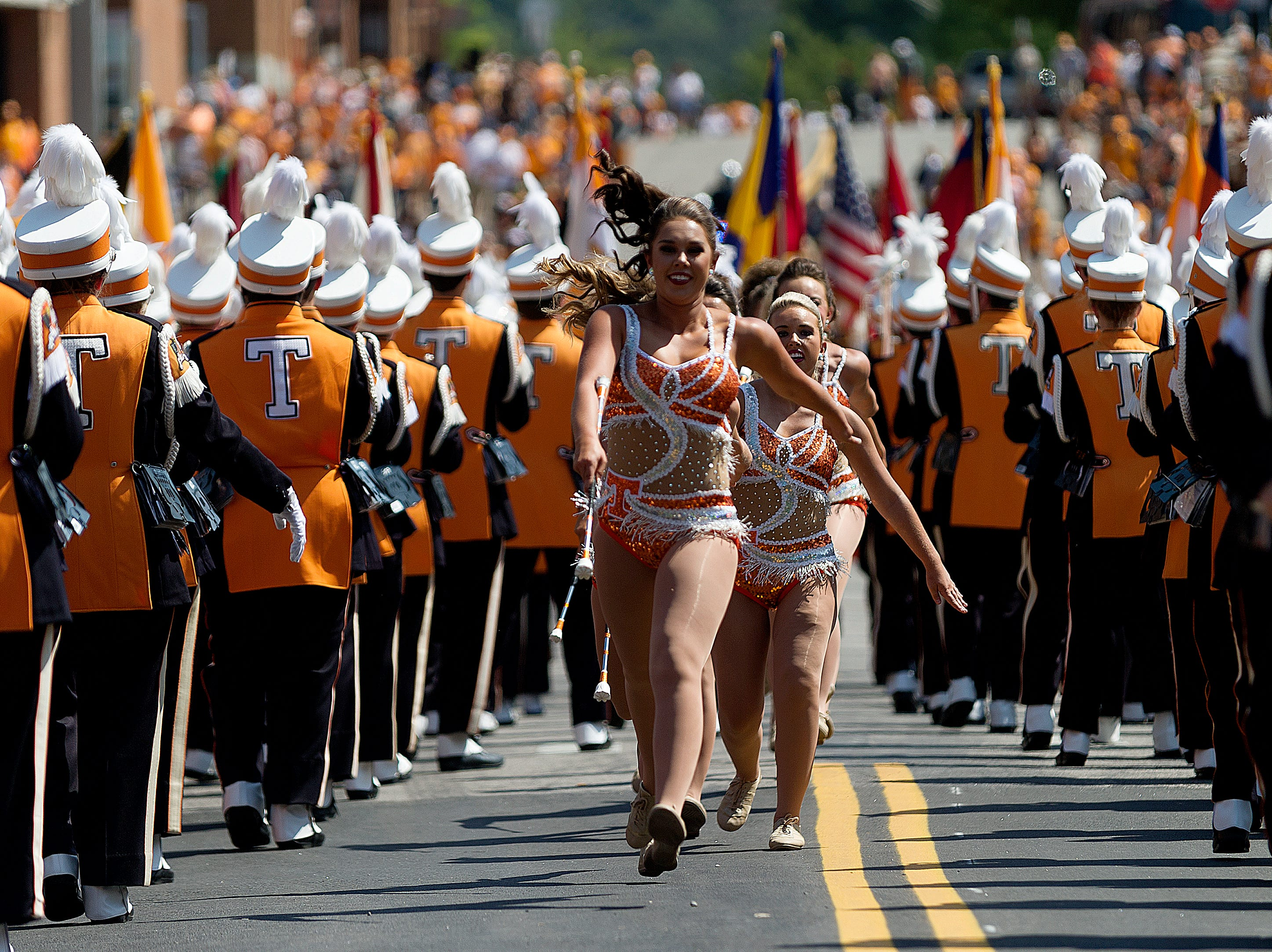 The Majorettes perform during the Tennessee Volunteers vs Indiana State Sycamores game at Neyland Stadium in Knoxville, Tennessee on Saturday, September 9, 2017.