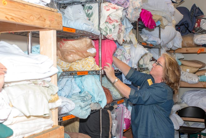Jennifer Layton organizes donations at Lafayette Transitional Housing.  Layton shared that donations to Good Will can be designated to LTHC - this creates a voucher for a person in-need to shop at Good Will.