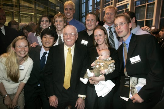 Neil Armstrong poses with Aeronautics and Astronautics graduate students from Purdue during a reception in his honor. File photo/J&C