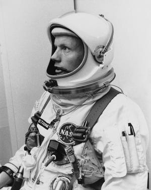 Astronaut Neil Armstrong, the first man to walk on the moon, is shown in March 6, 1966 when he piloted the Gemini VIII mission.