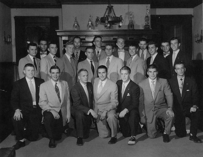 """In September 1952, Neil Armstrong (kneeling, third from left) was a member of the pledge class for the Phi Delta Theta fraternity at Purdue. Fellow pledge class member Dick Leill said: """"He was older than most of us ? and smarter, too. So we made him president of our pledge class."""" (Courtesy Dick Leill)"""