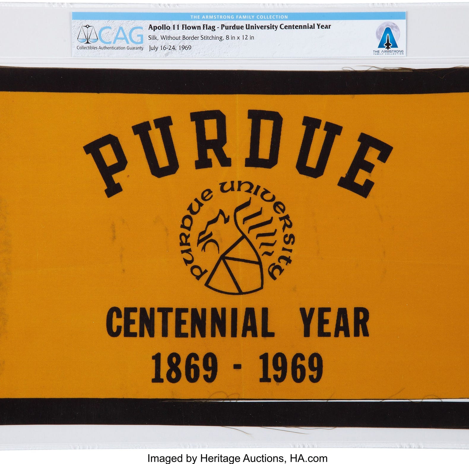 Purdue flag Neil Armstrong took to the moon: Winning bid is $42,000