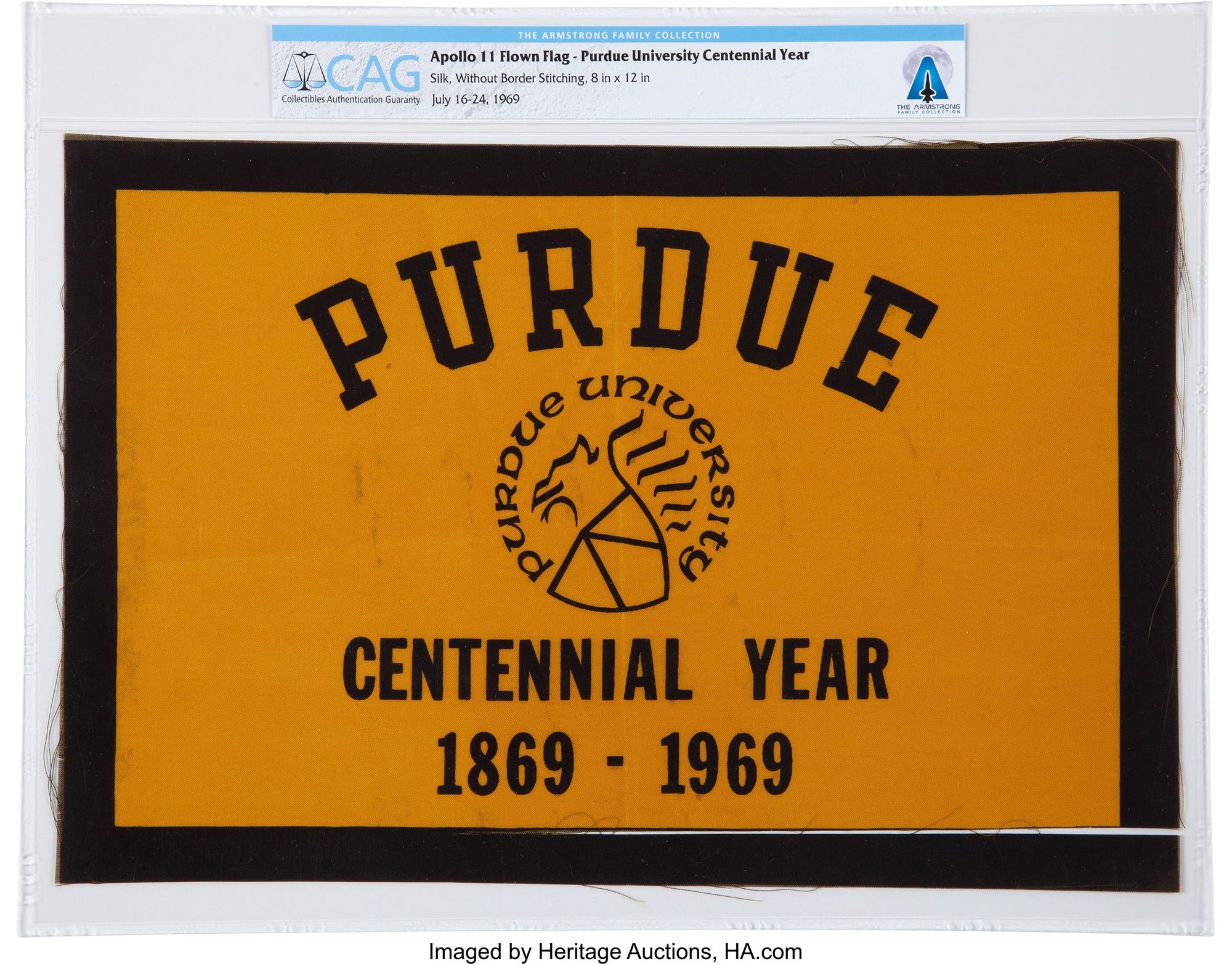 A Purdue Centennial flag on the Apollo 11 mission to the moon is among more than 2,000 items from the Armstrong family collection by Heritage Auctions, starting in October. Heritage AuctionsA Purdue Centennial flag that went with Neil Armstrong on the Apollo 11 mission to the moon is among more than 2,000 items from the Armstrong family collection by Heritage Auctions, starting in October.
