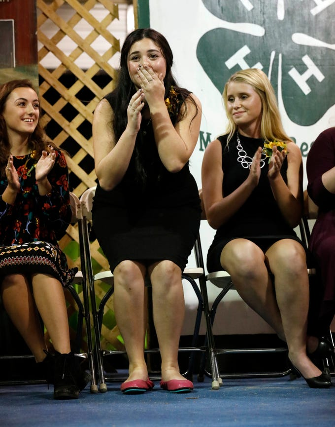Hayley Richardson reacts as she's announced the 2018 Fairfield County Junior Fair Queen Sunday night, Oct. 7, 2018, during the Junior Fair Panorama in Lancaster. Richardson, 17, is the daughter of Michael and Lisa Richardson. She attends Canal Winchester High School and Ohio University-Lancaster and is a member of Lithopolis Livestock 4-H Club.