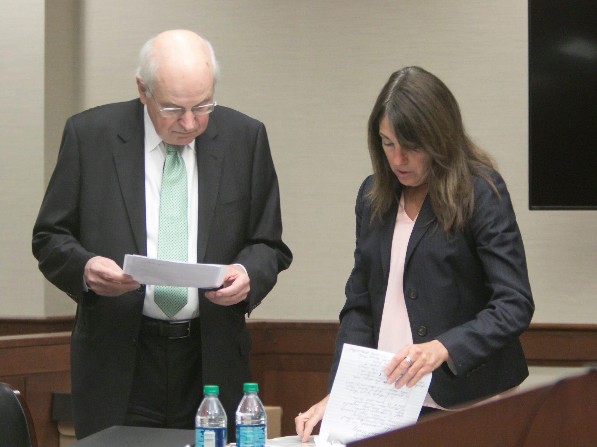 Judge Theresa Brennan prepares for her defense with attorney Dennis Kolenda Monday, Oct. 8, 2018.