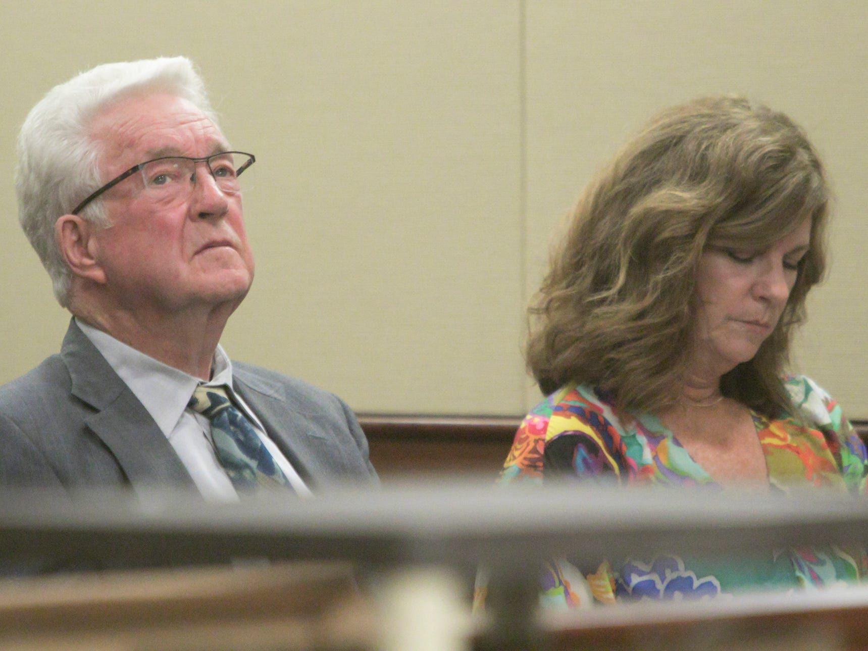 Judge Theresa Brennan's father, retired attorney John Brennan, and the judge's sister Denise Brennan-Nelson, listen  Monday, Oct. 8, 2018 during day 6 of her Judicial Tenure Commission misconduct hearing.