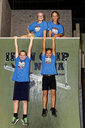 Competing on the American Ninja Warrior Junior television show which begins airing Saturday were (bottom, from left) Grant Snook, Nick Porter (top, from left) Carli Snook and Riley Porter. They train at Iron Grip Ninja in Howell.