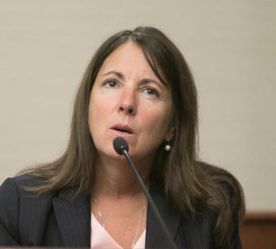 Judge Theresa Brennan thinks back on her career as District Court Judge during a Judicial Tenure Commission hearing on Oct. 8, 2018.