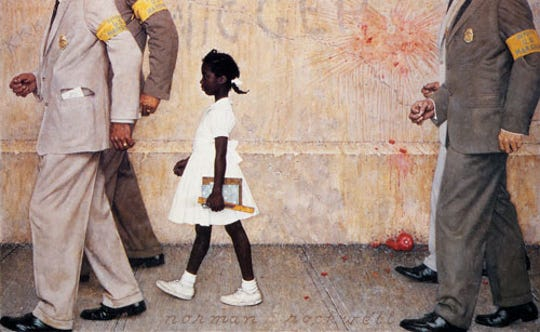"""""""The Problem We All Live With,"""" by Norman Rockwell, featured Ruby Bridges, a 6-year-old who had to be escorted by marshals to school after New Orleans schools were ordered to desegregate in 1960."""