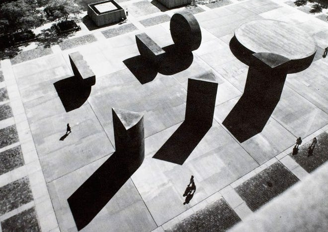 "This is a birds-eye view of ""This Equals That,"" an art installation that once stood west of the State Capitol in downtown Lansing. Artist Michael Heizer created the concept."