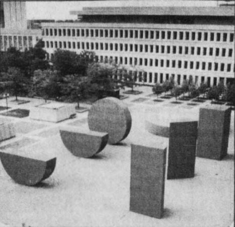 """Michael Heizer's """"This Equals That"""" once stood west of the State Capitol Complex in downtown Lansing."""