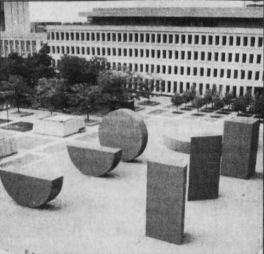 "Michael Heizer's ""This Equals That"" once stood west of the State Capitol Complex in downtown Lansing."