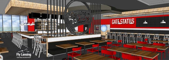 An artist's rendering of the future bar and restaurant coming to Lansing's Capital Region International Airport in Spring 2019.