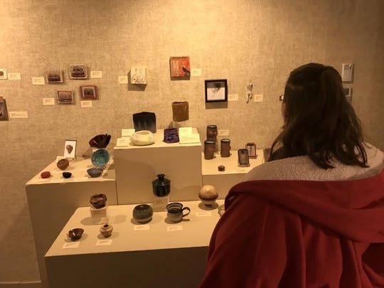 Works on display at the Lakeshore Artists Guild's inaugural Tiny Art Show at Rahr-West Art Museum in Manitowoc in 2017.