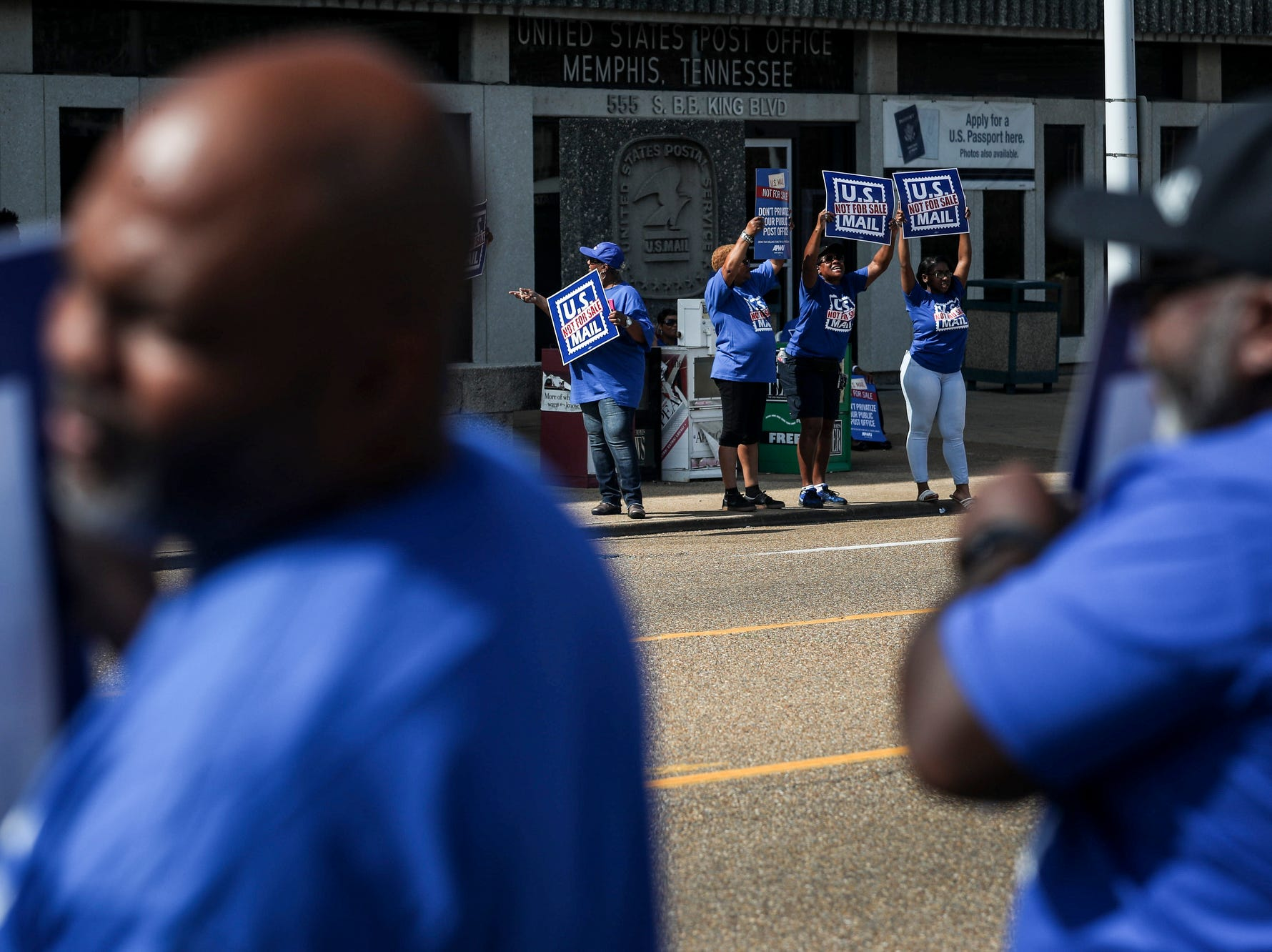 October 08 2018 - U.S. Postal Service employees, joined by community supporters, rallied on Monday in front of the Memphis Post Office. Participants sounded an alarm against a proposal announced in June by the White House's Office of Management and Budget to privatize the U.S. Postal Service.