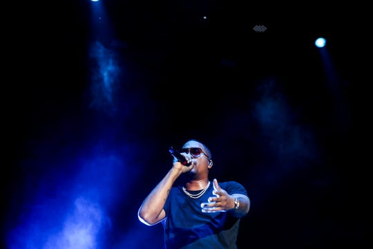 Nas performs on the First Tennessee stage during the Mempho Music Festival at Shelby Farms Park on Sunday.