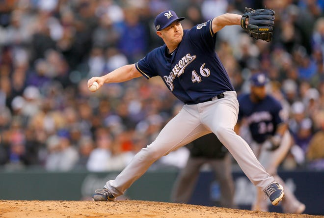 Corey Knebel, one of four relievers in the Brewers bullpben who appeared in all three games of the NLDS against the Rockies, could probably used the four days off the team has before the start of the NLCS on Friday.