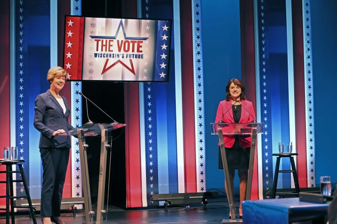 Tammy Baldwin and Leah Vukmir before their Oct. 8, 2018 debate at the UW-Milwaukee Peck School of the Arts.