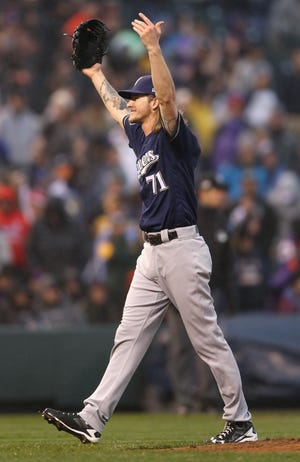 Josh Hader celebrates the final out.