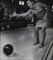 Betty Anick demonstrates her bowling ability as she joins other members of the Concerned Heart Club at Boyle's Bowl, 9150 W. Beloit, Road, West Allis, in 1971. Anick was Wisconsin's first heart transplant recipient. This photo was published in the March 22, 1977, Milwaukee Journal, two days after Anick died at age 57.