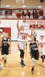 Norfork's Macy Dillard goes up for two during a game last season.