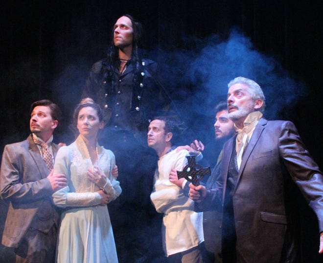 """Dracula,"" a stage version of Bram Stoker's classic horror novel, kicks off the 2018-19 season at Centenary Stage Co. in Hackettstown.  The cast includes (left to right) Christopher Young  as Jonathan Harker, Emaline Williams as Mina Harker, Marc LeVasseur as Count Dracula, Gary Littman as Renfield, Nick Bettens as Maxwell, and Carl Wallnau as Van Helsing."