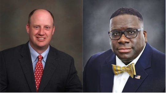 Will Ainsworth, from left, and Will Boyd who are running for Alabama lieutenant governor. Ainsworth is a Republican, and Boyd is a Democrat.