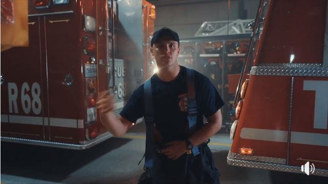 Screenshot of the Lip Sync Challenge video produced by Hayden Goldsworthy and the Yorktown Fire Department, raising awareness of a troubling trend among emergency personnel.